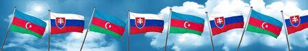Azerbaijan flag with Slovakia flag, 3D rendering