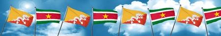 bhutan: Bhutan flag with Suriname flag, 3D rendering