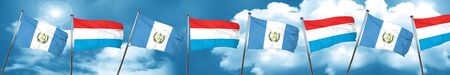 bandera de guatemala: guatemala flag with Luxembourg flag, 3D rendering