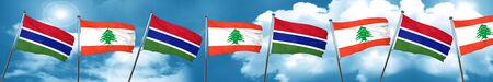 gambia: Gambia flag with Lebanon flag, 3D rendering