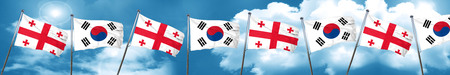 georgia: Georgia flag with South Korea flag, 3D rendering