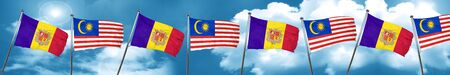 Andorra flag with Malaysia flag, 3D rendering Stock Photo