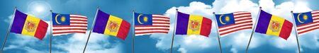 Bandera de Andorra con la bandera de Malasia, representación 3D Foto de archivo