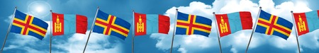 mongolia: aland islands with Mongolia flag, 3D rendering Stock Photo