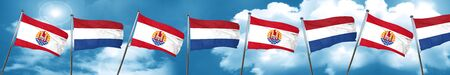 polynesia: french polynesia flag with Netherlands flag, 3D rendering Stock Photo