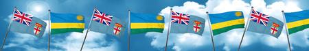 Fiji flag with rwanda flag, 3D rendering