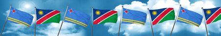 aruba: aruba flag with Namibia flag, 3D rendering Stock Photo