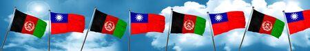 Bandera de Afganistán con la bandera de Taiwán, representación 3D
