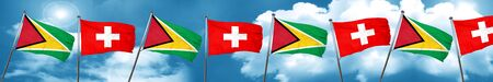Guyana flag with Switzerland flag, 3D rendering