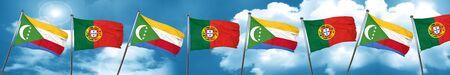 Bandera de Comoras con la bandera de Portugal, representación 3D