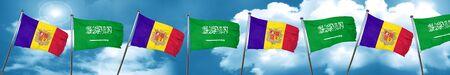 combines: Bandera de Andorra con bandera de Arabia Saudita, representación 3D Foto de archivo