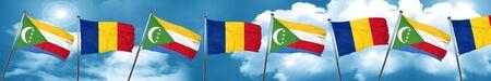 Comoros flag with Romania flag, 3D rendering Stock Photo
