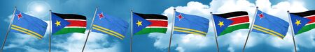 aruba flag with South Sudan flag, 3D rendering