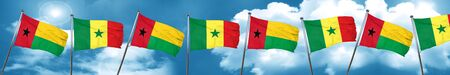 Guinea bissau flag with Senegal flag, 3D rendering