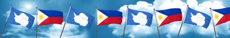 philippino: antarctica flag with Philippines flag, 3D rendering Stock Photo