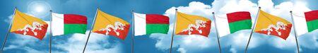 bhutan: Bhutan flag with Madagascar flag, 3D rendering