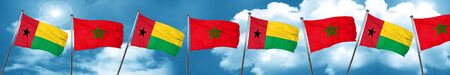 Guinea bissau flag with Morocco flag, 3D rendering