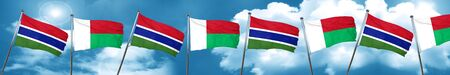 gambia: Gambia flag with Madagascar flag, 3D rendering Stock Photo