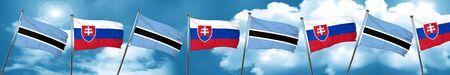 Botswana flag with Slovakia flag, 3D rendering