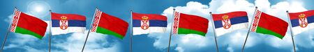 Belarus flag with Serbia flag, 3D rendering