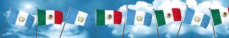 combines: bandera de guatemala con la bandera de México, representación 3D