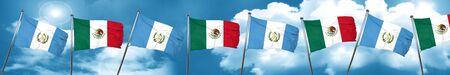 guatemalan: guatemala flag with Mexico flag, 3D rendering Stock Photo