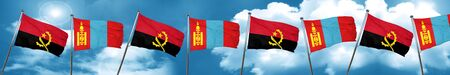 mongolia: Angola flag with Mongolia flag, 3D rendering Stock Photo