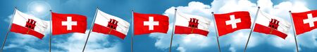 gibraltar flag with Switzerland flag, 3D rendering Stock Photo