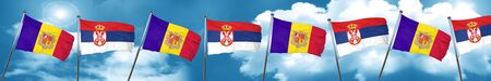 Andorra flag with Serbia flag, 3D rendering