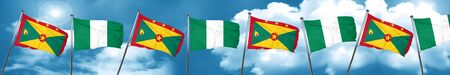 country nigeria: Grenada flag with Nigeria flag, 3D rendering