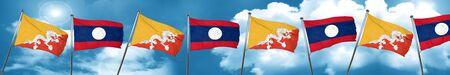 Bhutan flag with Laos flag, 3D rendering
