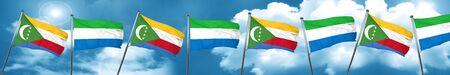 Comoros flag with Sierra Leone flag, 3D rendering Stock Photo