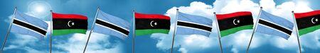 botswana: Botswana flag with Libya flag, 3D rendering