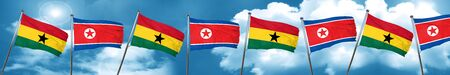 Ghana flag with North Korea flag, 3D rendering