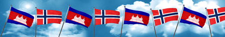 norway flag: Cambodia flag with Norway flag, 3D rendering Stock Photo