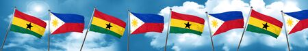 Ghana flag with Philippines flag, 3D rendering
