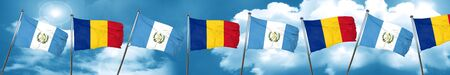 guatemala flag with Romania flag, 3D rendering