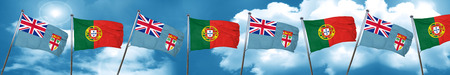 Fiji flag with Portugal flag, 3D rendering