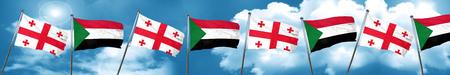 georgian: Georgia flag with Sudan flag, 3D rendering