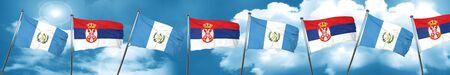 bandera de guatemala: guatemala flag with Serbia flag, 3D rendering Foto de archivo