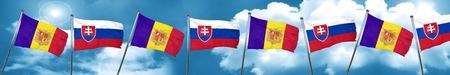 Andorra flag with Slovakia flag, 3D rendering Stock Photo