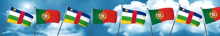 central african republic: Central african republic flag with Portugal flag, 3D rendering