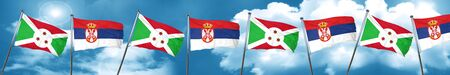 Burundi flag with Serbia flag, 3D rendering