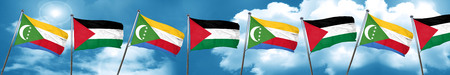 Comoros flag with Palestine flag, 3D rendering