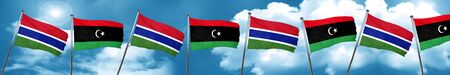 gambia: Gambia flag with Libya flag, 3D rendering