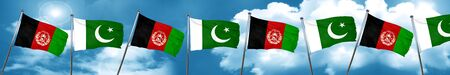 Afghanistan flag with Pakistan flag, 3D rendering Stock Photo