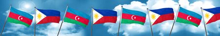 Azerbaijan flag with Philippines flag, 3D rendering
