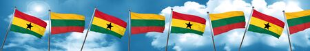 Ghana flag with Lithuania flag, 3D rendering Stock Photo