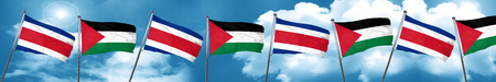 Costa Rica flag with Palestine flag, 3D rendering Stock Photo