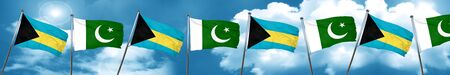 flag of pakistan: Bahamas flag with Pakistan flag, 3D rendering